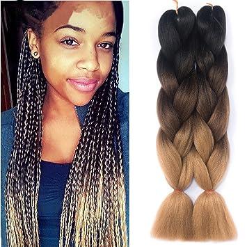 Women Heat Resistant Fiber Ombre Jambo Braids Girl Hair Extension African 24inch Synthetic Braiding Hair Lady Gradient Dreadlock Jumbo Braids Hair Extensions & Wigs