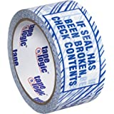 """Tape Logic T902ST026PK Security Tape, Legend """"If Seal Has Been..."""", 110 yds Length x 2"""" Width, 2.5 mil Thick, Blue on White (Case of 6)"""