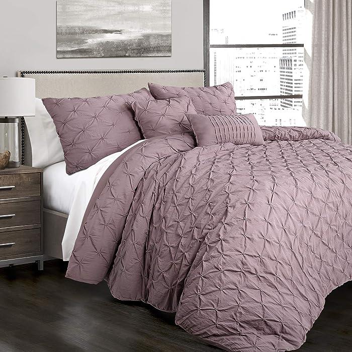 Lush Decor Woodrose Ravello Shabby Chic Style Pintuck 5 Piece Comforter Set with Pillow Shams King