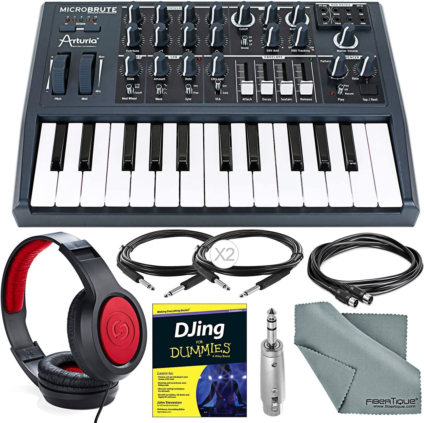 Arturia Microbrute 25-Note Mini Keyboard Analog Synthesizer and Deluxe Bundle w/Samson SR360 Stereo Headphones + Adapter + Cables + Djing for Dummies Guide 817NlB1GQoLSL1500_