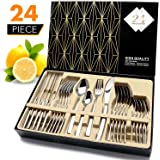 HOBO Silverware Set24-Piece Stainless Steel Flatware Sets High-grade Mirror Polishing Cutlery SetsMultipurpose Use for HomeKitchenRestaurant Tableware Utensil Sets with Gift Box Service for 6