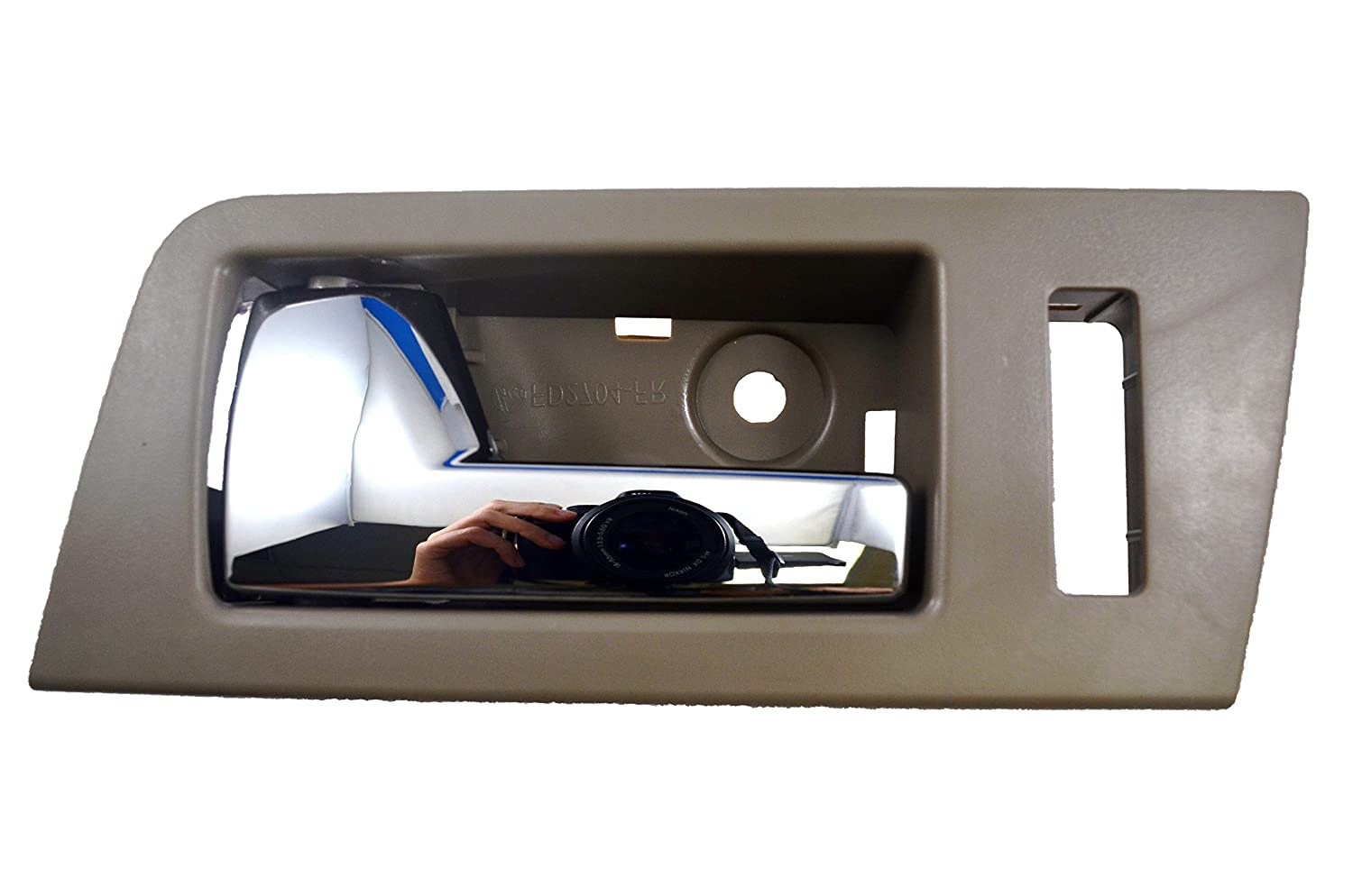 Gray Inside Interior Inner Door Handle Stone Driver Side Front Housing with Chrome Lever PT Auto Warehouse FO-2704MG-FL