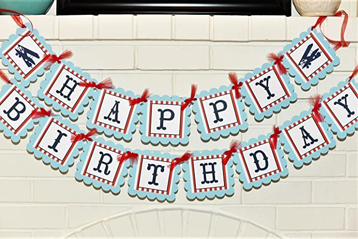 Light Baby Blue And Red Vintage Airplane Happy Birthday