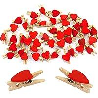 Oblique-Unique® 50 Stück Mini Holz Wäscheklammern mit niedlichen Herzen in Rot oder Weiss - Holzklammern Deko Klammern