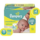 Diapers Pampers Swaddlers Size 1 (8-14 lb), 198Count - Disposable Baby Diapers Size 1/ Newborn, 198Count, ONE MONTH SUPPLY