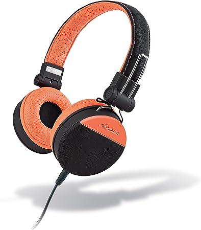 MySound Speak Style Cuffie Stereo Extra Bass con Microfono e Tasto di Risposta, Rivestimento in Ecopelle, ArancioNero