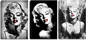 Marilyn Monroe Wall Art- Black and Red Lip Canvas Picture and Prints Woman Decor for Living Room Bedroom Decorations Painting Framed(16X24inchX3,red)