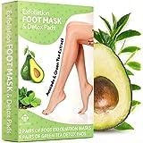 Avocado Foot Peel Mask and Green Tea Detox Pads - Removes, and Exfoliates Rough Heels, Dead Skin, Calluses - 100% Organic Ing