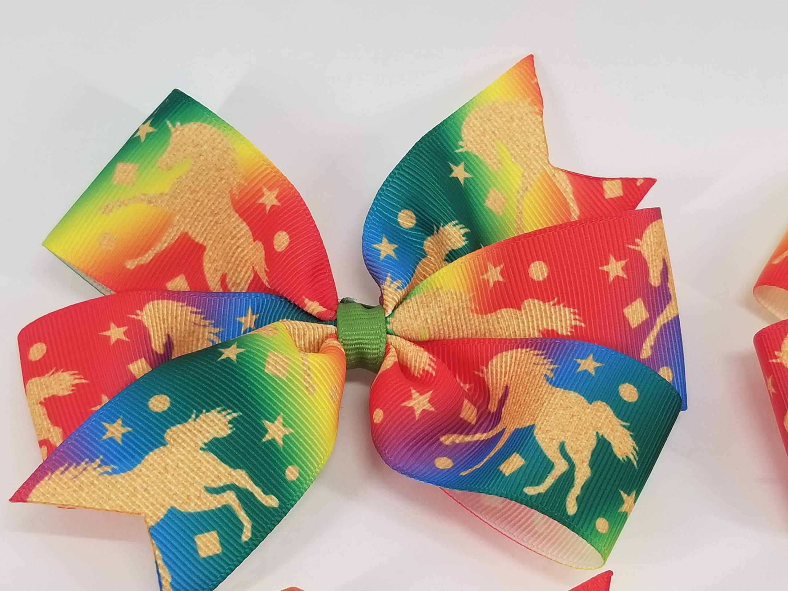 Rainbow Unicorns Hair Bow 3