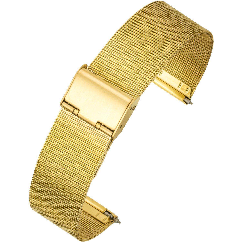 Ton charmeステンレススチールブレスレットクイックリリースWirst時計バンド交換用04メッシュメタmilaneselストラップインターロック安全クラスプ18 /20 /22 mm 18mm ゴールド 18mm|ゴールド ゴールド 18mm B07CXGT2YM