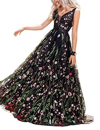 LCRS Womens Floral Embroidered Prom Dress 2018 Backless Formal Evening Gown at Amazon Womens Clothing store: