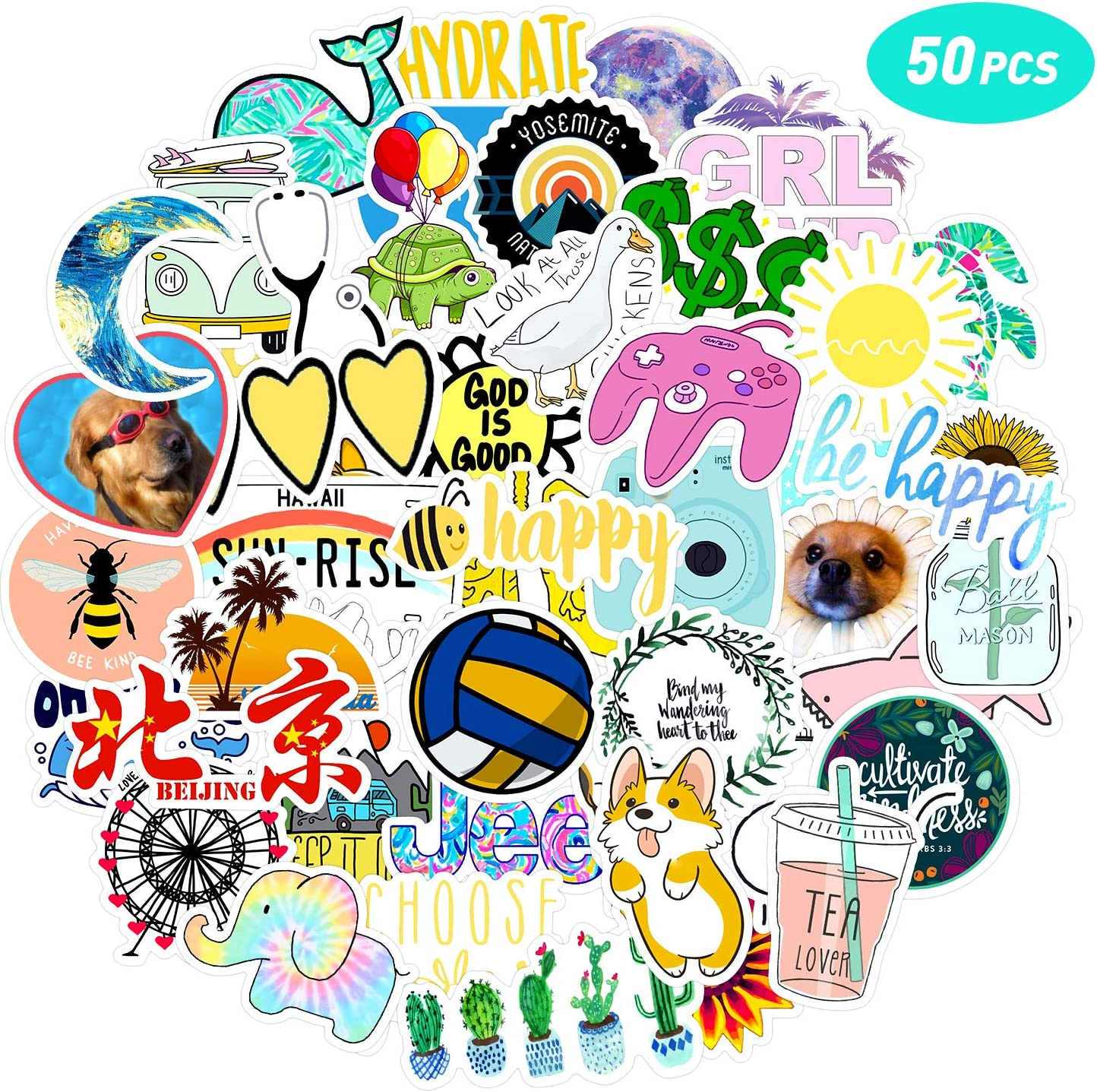 Enjoyee 50 Pcs VSCO Vinyl Cute Cool Stickers for Hydro Flask, Water Bottle and Laptop - Suitable for Kids, Girls, Teens, Women (C1)