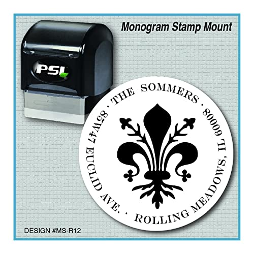 Fleur De Lis Return Address Monogram Stamp