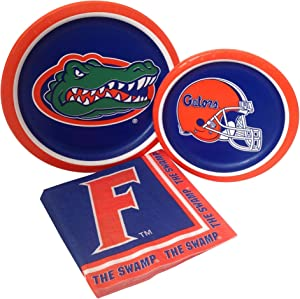 University of Florida Gators Party Supplies Themed Paper Plates and Napkins Serves 8 Guests