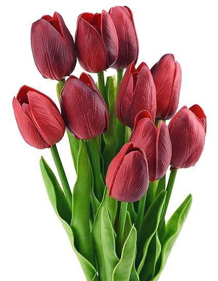 FiveSeasonStuff 10 Piezas de Toque Realista Tulipanes Artificial Calidad Ramo de Flores, Perfecto para la