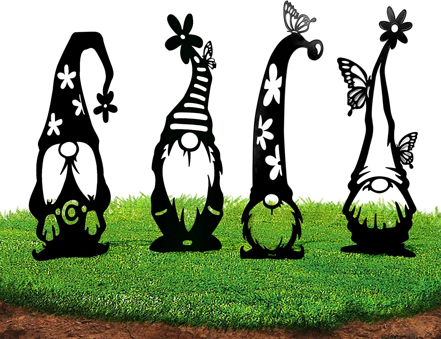 Steel Branch Gnomes Decoration,Gnomes Garden Decorations,Metal Yard Art ,Size Increased to 20.9IN Hollow Out Silhouette Garden Statue, Lovely Guardian of Outdoor Garden Lawn (4 Pack)