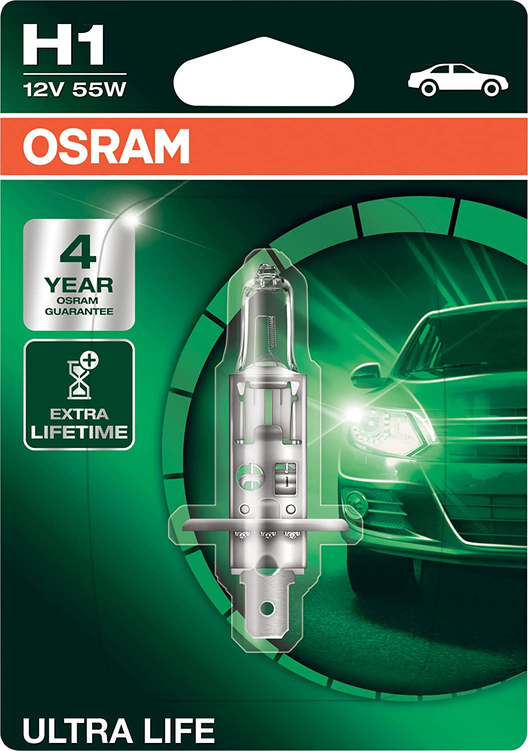 OSRAM COOL BLUE INTENSE H1, headlight bulb for halogen headlamps, xenon effect for white light, 64150CBI-HCB, 12V passenger car, duobox (2 units)