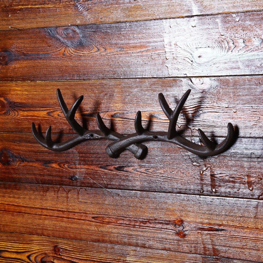 Blesiya Metal Wood Wall Hook Storage Cloth Hat Hanger Hooks Brown 5 Hooks