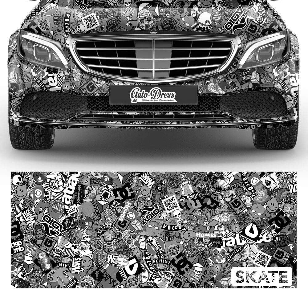 50x150cm Stickerbomb Auto Folie In Schwarz Weiss Glanz Sticker Logo Bomb Jdm Aufkleber Design Skate Auto