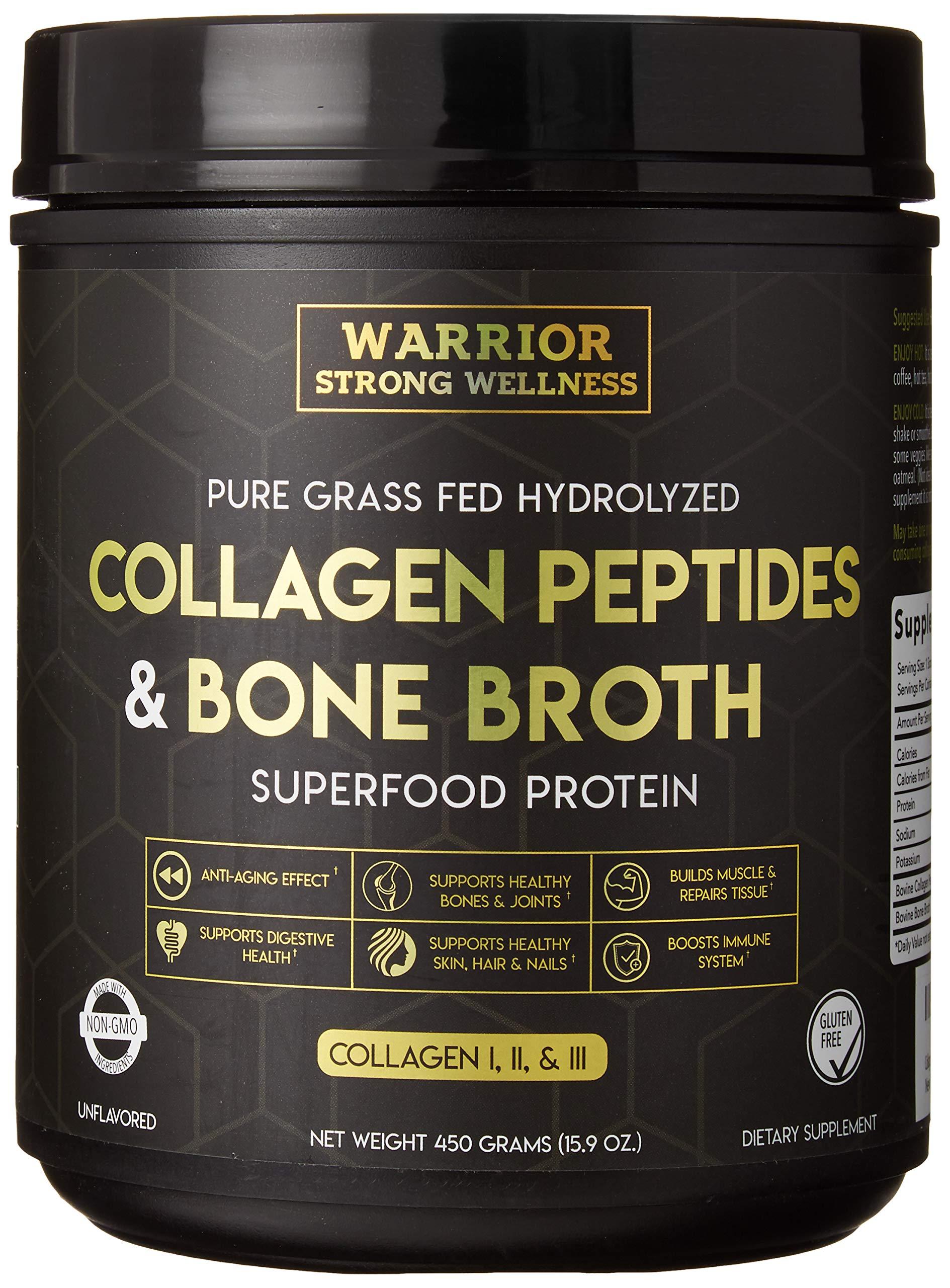 Premium Collagen Peptides Bone Broth by Warrior Strong Wellness: Grass Fed Hydrolyzed Collagen Protein Powder Boost