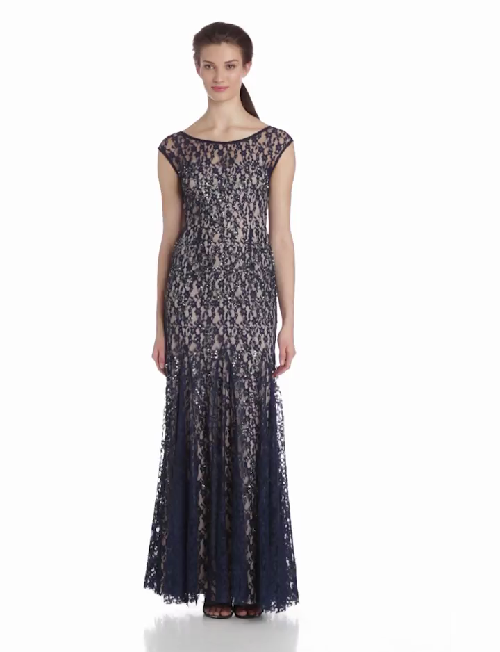 Adrianna Papell Womens Cap Sleeve Lace Beaded Gown