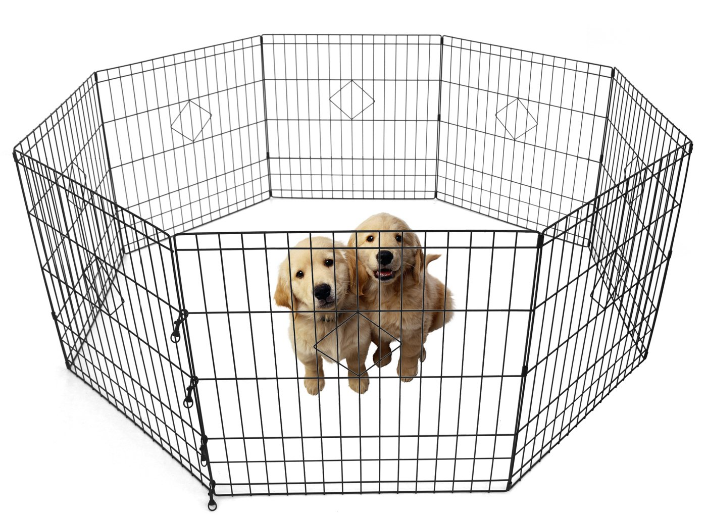 PAG Foldable Metal 8 Panels 25 in High Exercise Pet Fence Playpen for Dogs