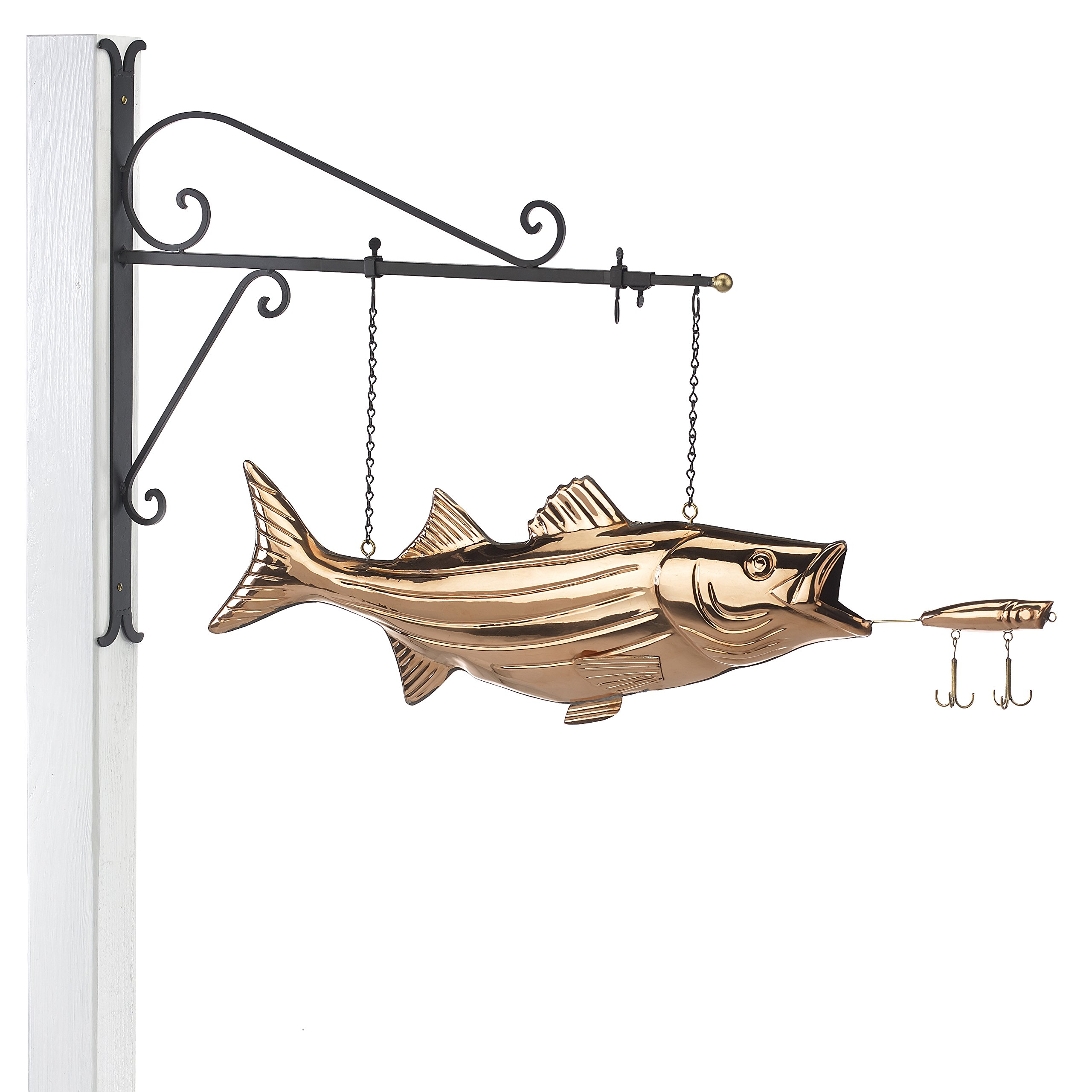 Good Directions Hanging Bass with Lure Pure Copper Weathervane Sign with Decorative Scroll Wall Bracket - Welcome Sign, Home/Entrance/Entryway Décor