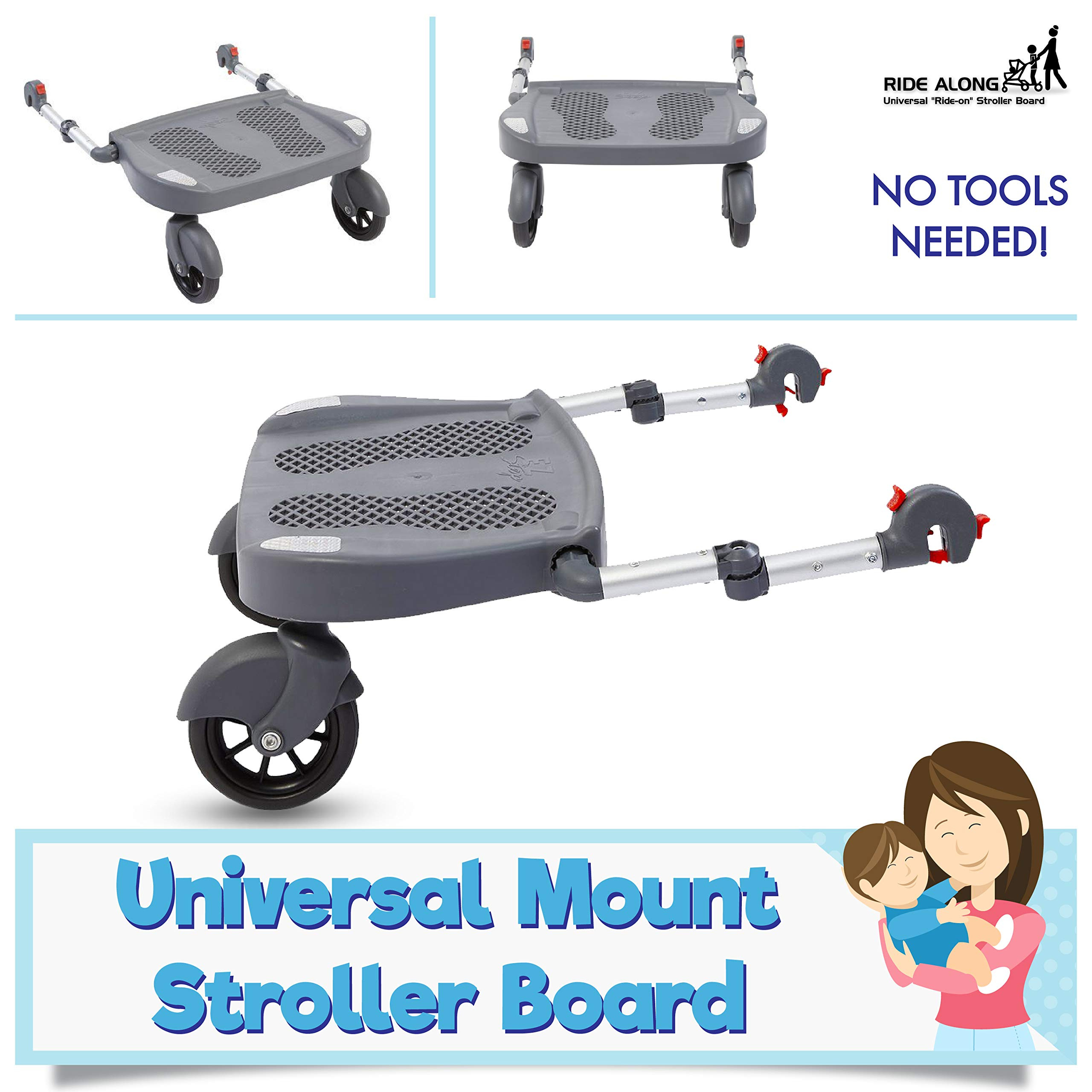Ride Along - Universal Mount Ride-On Stroller Board Toddler Bump-Free Anti-Slip Buggy Stand by EZ step (Image #2)