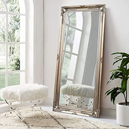 Fabulous Fb Funkybuys Modern Large Sliver Antique Wall Mirror Shabby Chic Full Length Leaner Vintage Style Floor Mirror X Large 75 X 105Cm Download Free Architecture Designs Scobabritishbridgeorg
