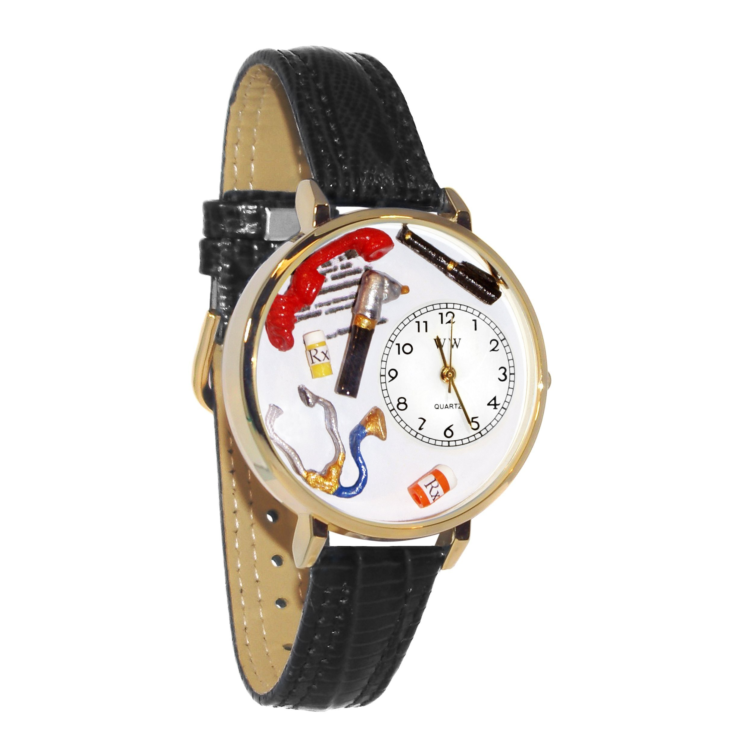 Doctor Black Padded Leather And Goldtone Watch #WG-G0620018