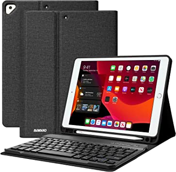 BAIBAO Funda con teclado inalámbrico y portalápices incorporado para iPad 2019, iPad Air 3 2019 y iPad Pro 2017 10,5 pulgadas Negro