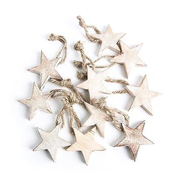 Amazon De 10 Stuck Holzsterne Sterne Holz Weihnachtssterne 5 Cm