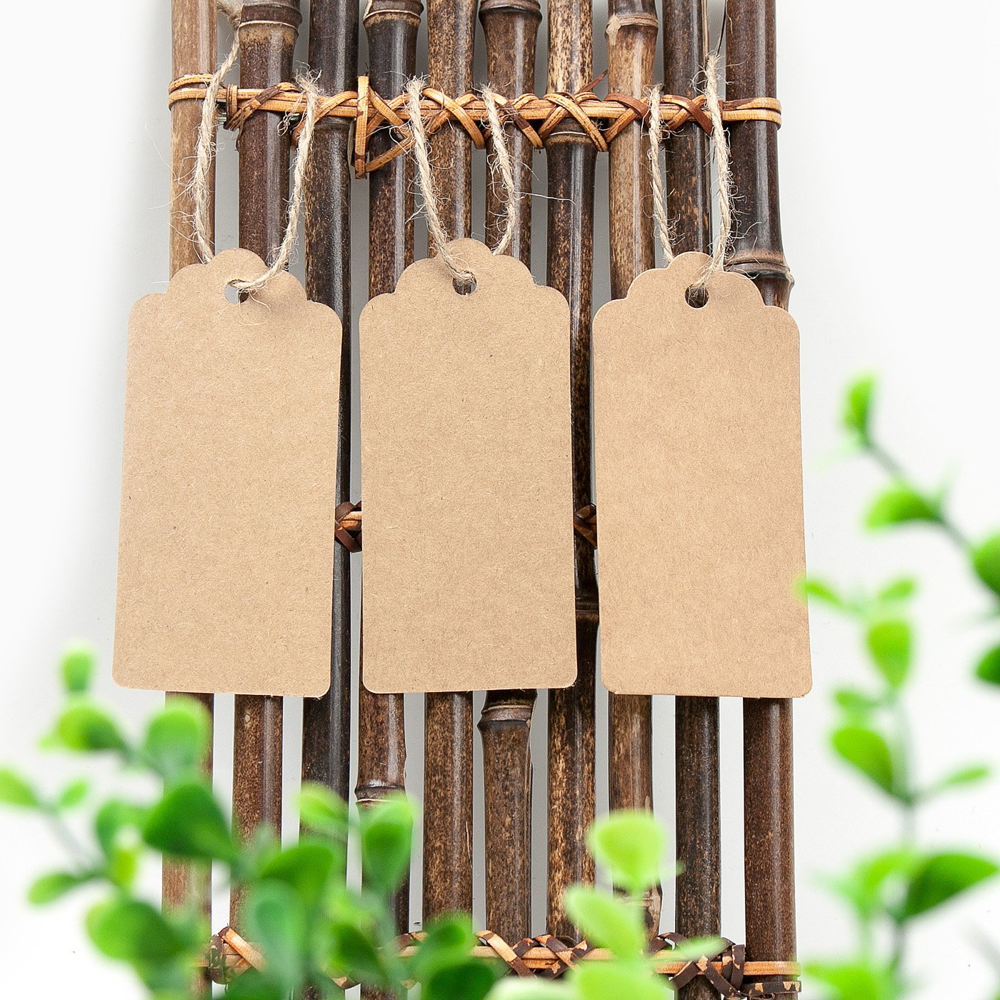 """3.8/""""/×1.8/"""" Gift Tags 200PCS Kraft Paper Tags with 160 Feet Jute Twine"""