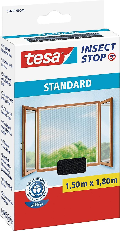 1,3m:1,5m Insektenschutz zuschneidbar Anthrazit Durchsichtig M/ückenschutz ohne Bohren Fliegen Netz tesa Insect Stop STANDARD Fliegengitter f/ür Fenster 3er Pack