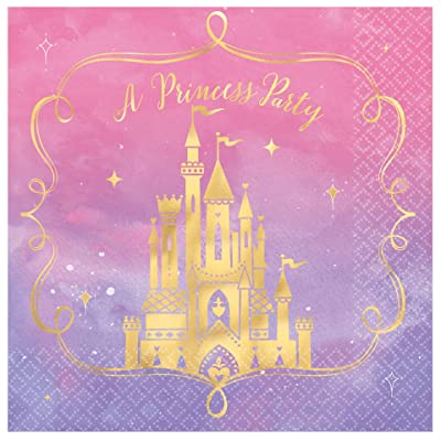 """Disney Princess"" Metallic Luncheon Party Napkins, 6.5"" x6.5"", 16 Ct.: Toys & Games"