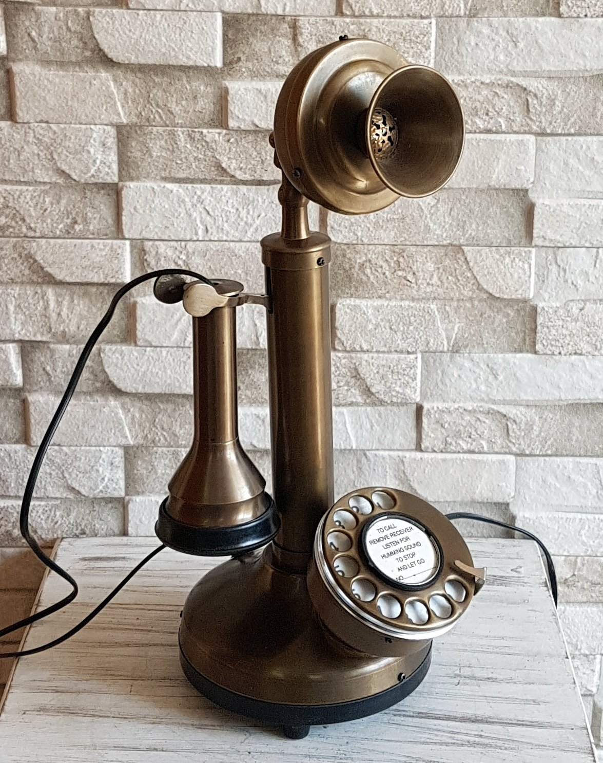 House Of Antiques Vintage Style Rotery Dial Candlestick Functional Decorative Brass Telephone.