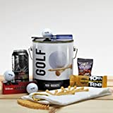 ManBuckets GOLF Bucket - Awesome Golf Gear And Grub Packed In A Manly One Gallon Steel Paint Bucket. It's A Gift Basket for Real Men.