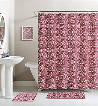 Cranberry Red White Damask Cotton Fabric Shower Curtain
