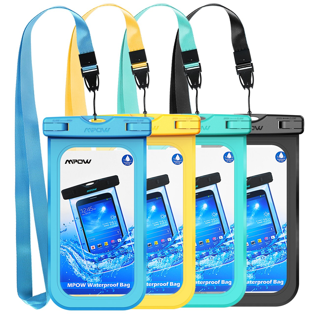 Mpow Waterproof Phone Pouch, IPX8 Universal Waterproof Case Underwater Dry Bag 4-Pack Compatible for iPhone X/8/8P/7/7P, Galaxy S9/S9P/S8/Note 8, Google Pixel/HTC up to 6.0'' (Blue Yellow Green Black)