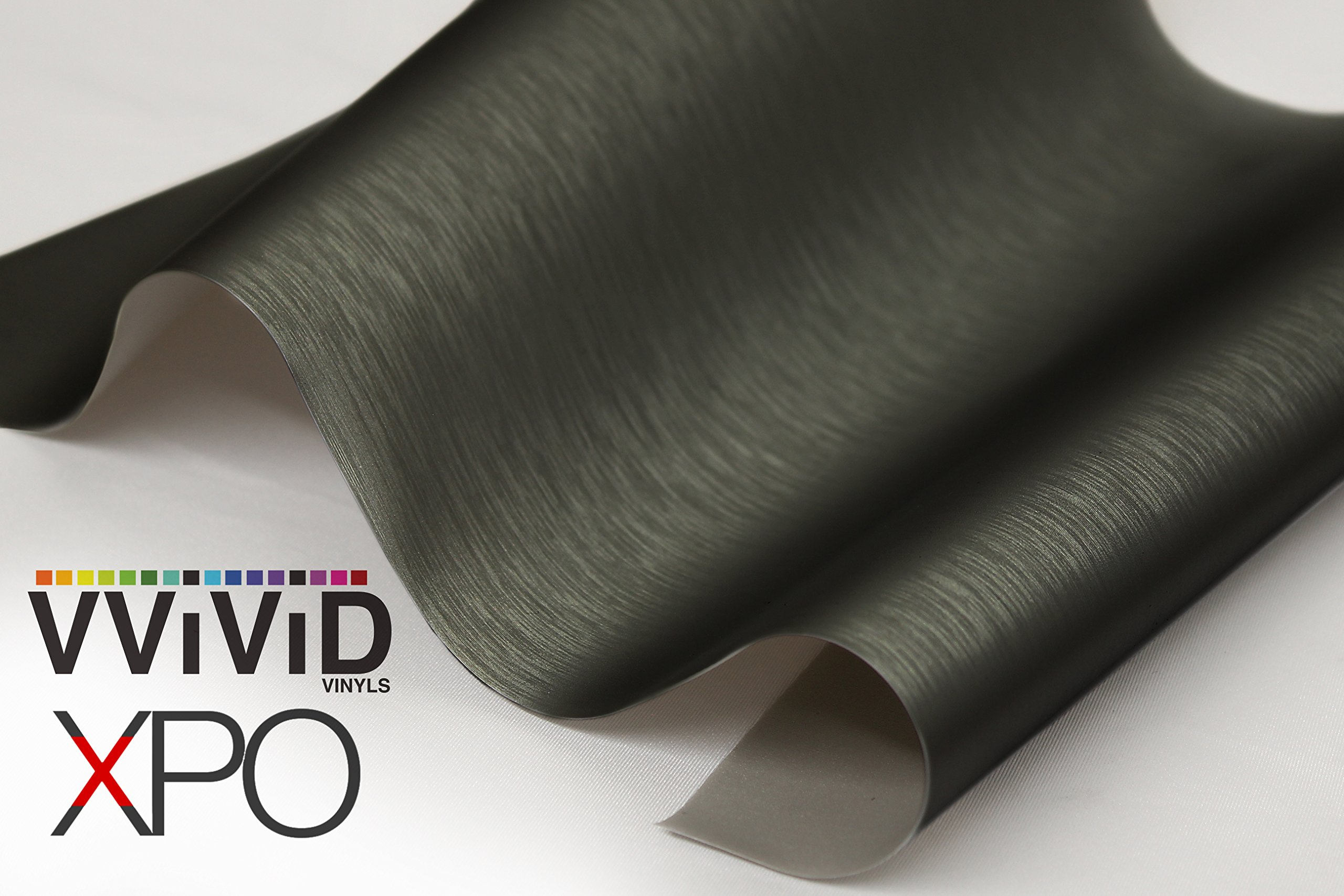 VViViD Black Brushed Steel Vinyl Wrap Roll with Air Release Technology (20ft x 5ft)