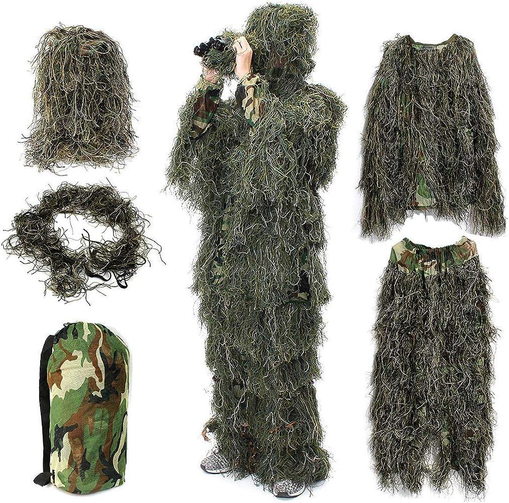 YuanDian Ghillie Trajes 3D Hojas Woodland Camuflaje Ropa Ejército ...