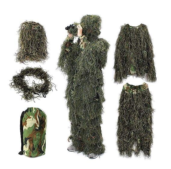 factory price aliexpress sale uk YuanDiann Camouflage 3D Ghillie Suit Tenue De Chasse Affût Militaire  Woodland Airsoft Photographie Sniper Adulte Veste Pantalon Chapeau Ensemble  De 5 ...