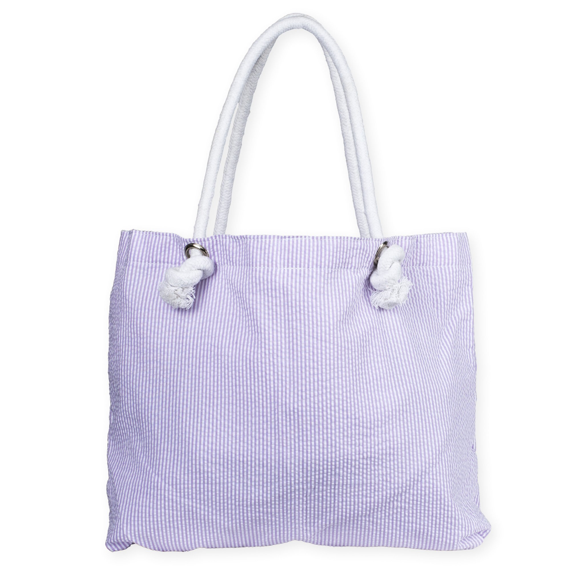 Rope Handle Inside Lined Everything Bag (Lilac Seersucker)