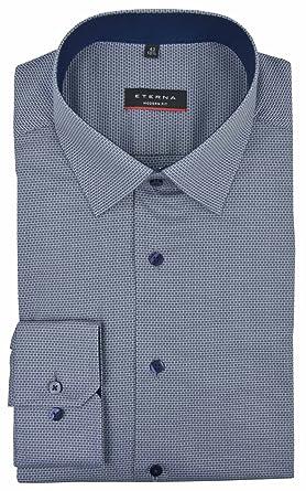 Eterna Modern Fit Hemd marine gemustert, Kragenweite:44