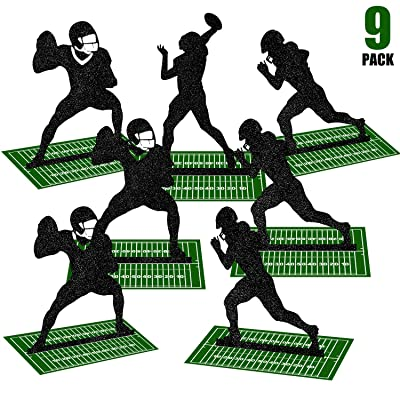 9 Pieces Football Table Centerpiece Football Party Decorations Football Player Silhouette Centerpieces, 8 Inches and 3 Styles: Toys & Games