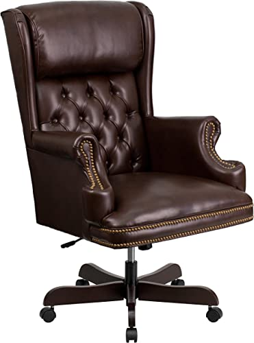 Flash Furniture High Back Traditional Tufted Brown Leather Executive Ergonomic Office Chair with Oversized Headrest Nail Trim Arms