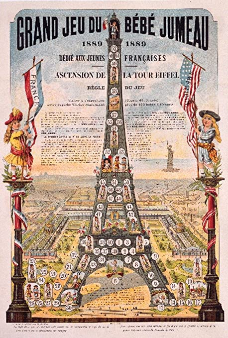 Amazon.com: Grand Jeu du Bebe Jumeau Vintage Poster France c. 1889 (24x36 Giclee Art Print, Gallery Framed, Silver Wood): Posters & Prints