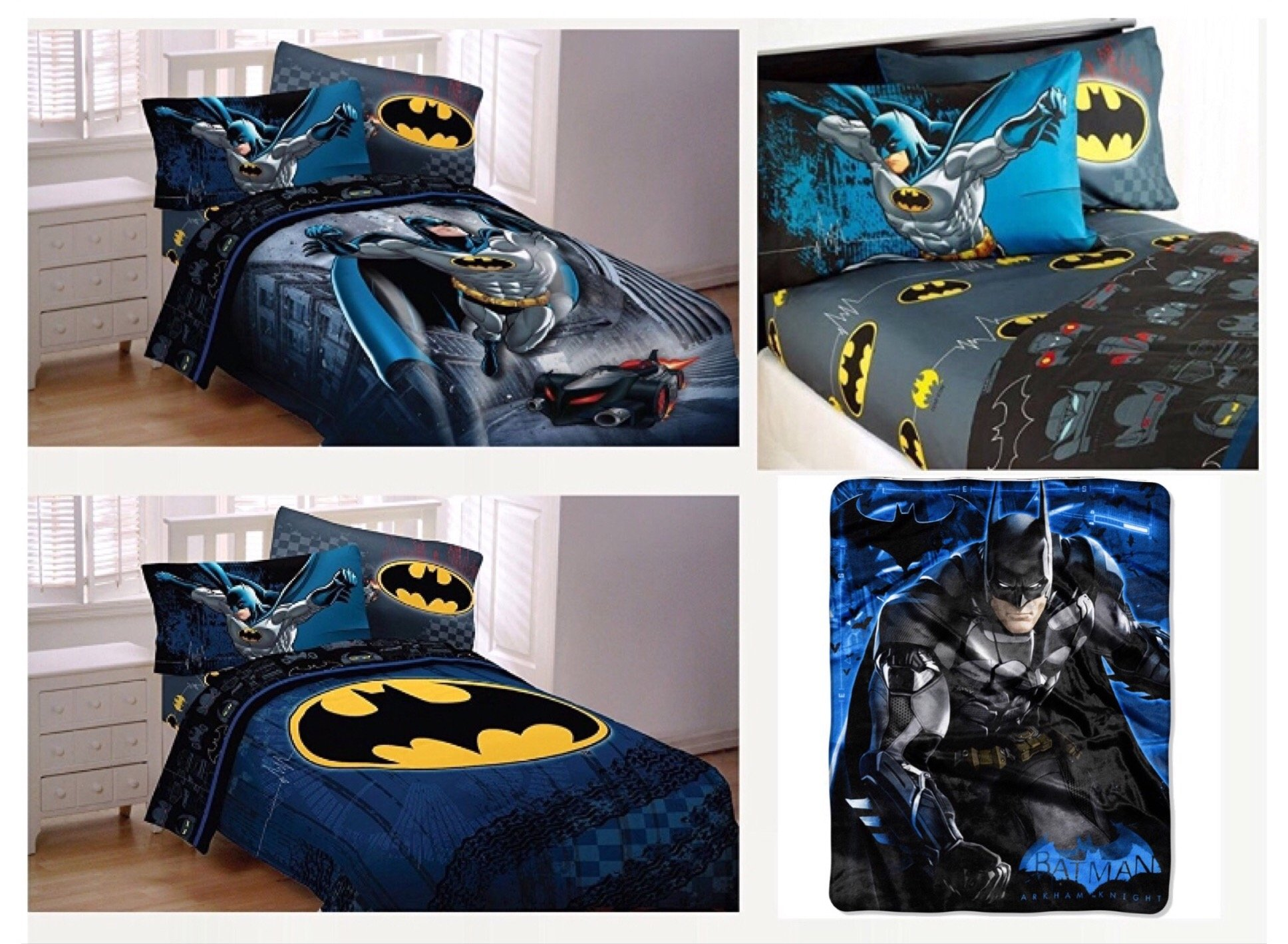 DC Comics Batman Kids Full Guardian Speed Bedding Set - Reversible Comforter, Sheet Set with Two Reversible Pillowcases and Ultra Soft Throw Blanket