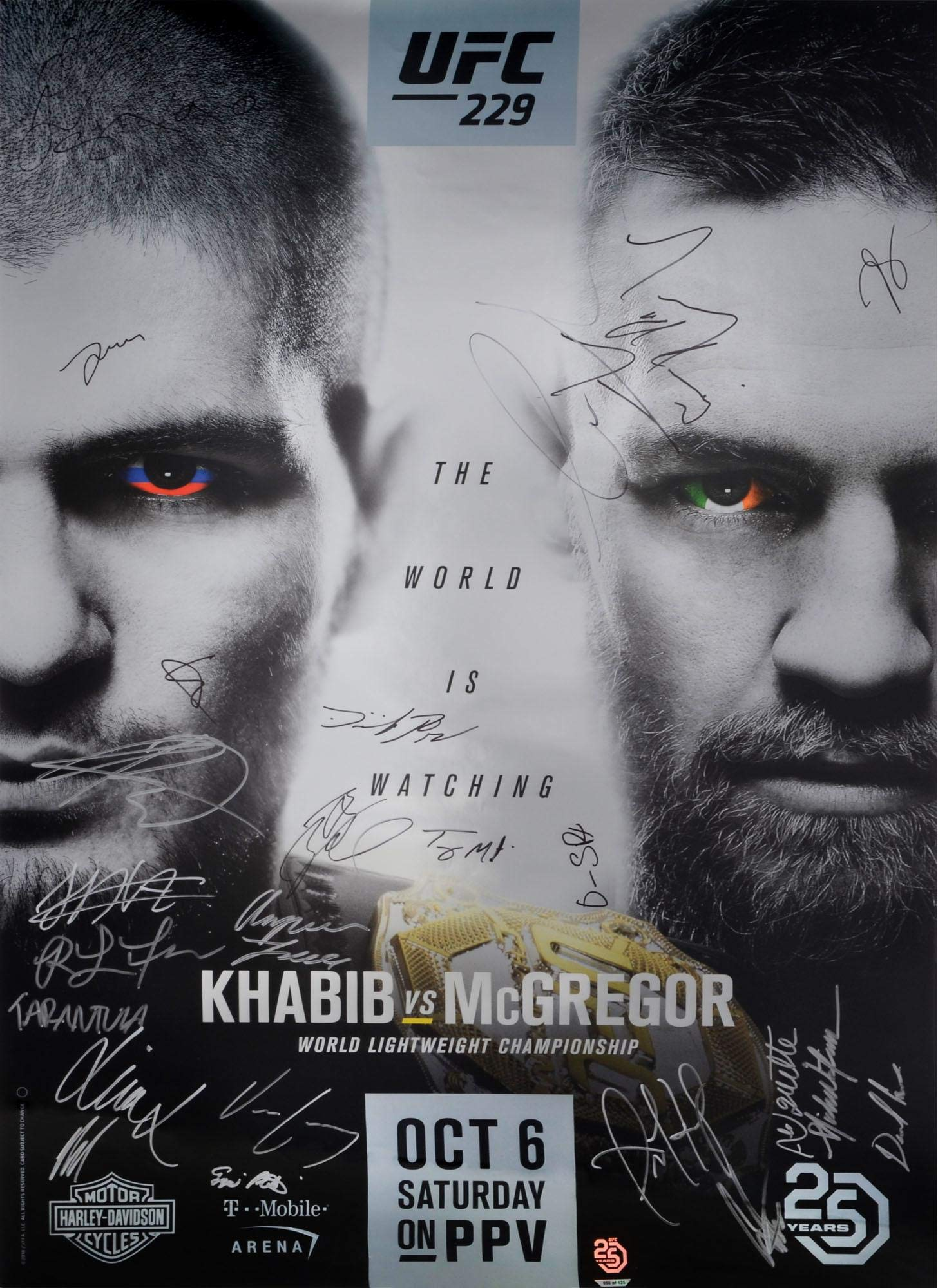"UFC 229 Nurmagomedov vs. McGregor Autographed 27"" x 39"" 22 Signature Fight Poster Fanatics Authentic Certified"
