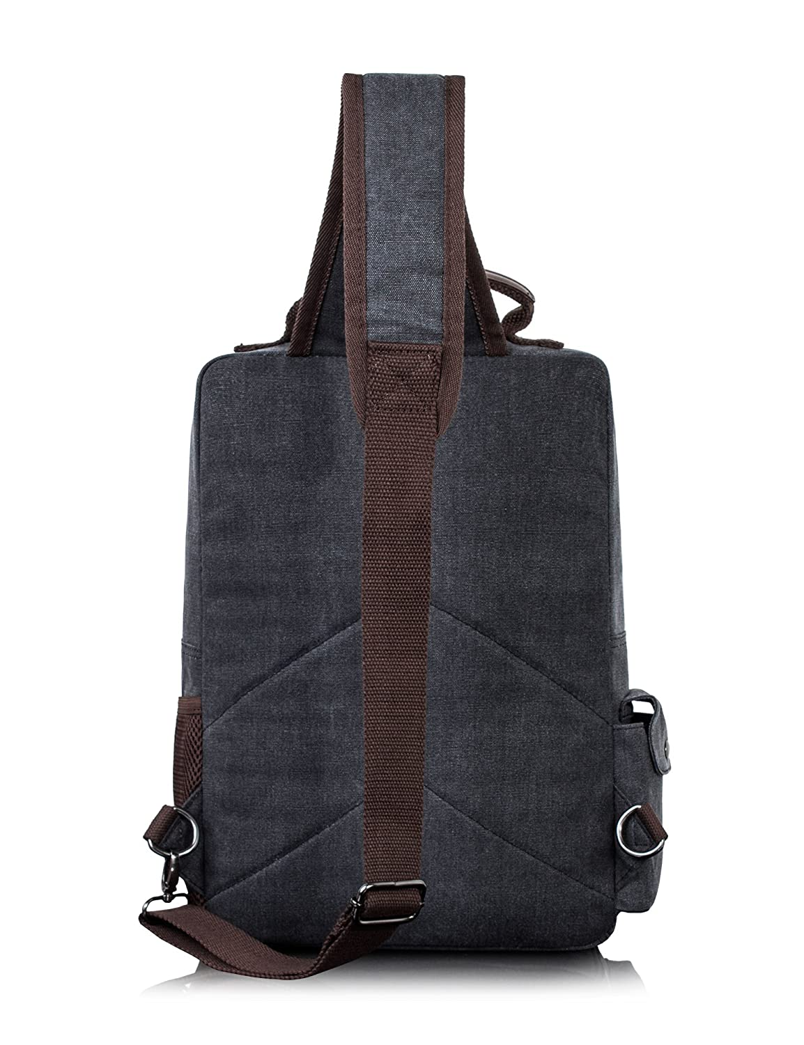 H Hikker-Link Mens Canvas Messenger Bag Laptop Sling Backpack Crossbody Rucksack